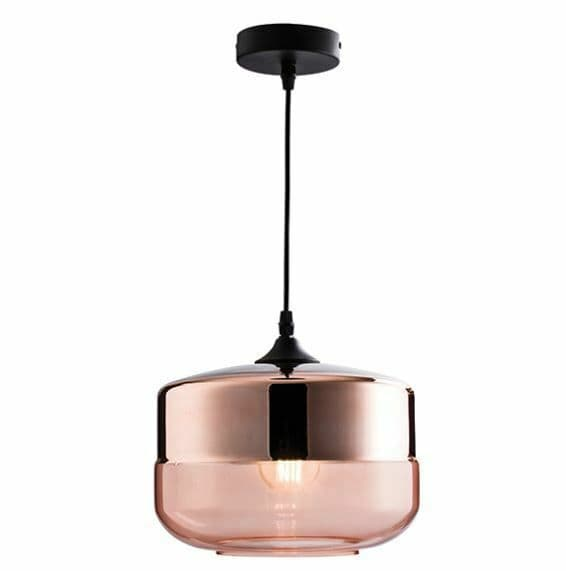 Willis Pendant polished copper plated and cognac glass shade
